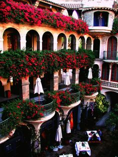 The balcony overlooking the gorgeous courtyard at National Treasured Mission Inn in Riverside California