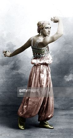 Vaslav Nijinsky (1890-1950) russian dancer of polish origins here in ballet Sheherazade, 1910 colorized document