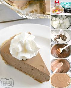 Hershey Chocolate Pie is a no-bake chocolate pie made with melted marshmallows, melted Hershey bars and real whipped cream in a graham cracker crust. This easy chocolate pie recipe is so simple to make and is rich, chocolatey and absolutely delicious! Hershey Chocolate Pie, Easy Chocolate Pie Recipe, Baked Chocolate Pudding, Chocolate Graham Cracker Crust, Homemade Graham Cracker Crust, Graham Cracker Recipes, Chocolate Pies, Homemade Chocolate, Chocolate Flavors