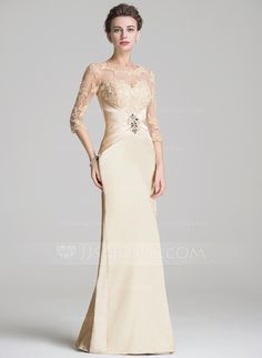 Sheath/Column Scoop Neck Floor-Length Ruffle Beading Appliques Lace Sequins Zipper Up Sleeves 3/4 Sleeves No 2016 Champagne Spring Fall Winter General Plus Charmeuse Mother of the Bride Dress