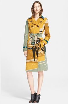 Burberry Prorsum Book Cover Print Double Breasted Trench Coat available at #Nordstrom