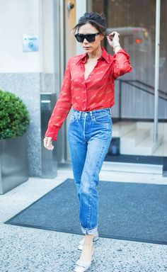 Victoria Beckham jeans and red tiger shirt