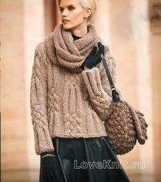 Пуловер с крупным рельефным узором и шарф-снуд схема спицами » Люблю вязать
