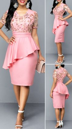 V Neck Embroidered Ruffle Trim Dress – Christmas Fashion Trends Short African Dresses, Latest African Fashion Dresses, Women's Fashion Dresses, Outfits Dress, Classy Work Outfits, Classy Dress, Elegant Dresses, Casual Dresses, Lace Dress Styles