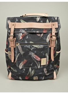 Master-Piece x Nowartt Collaboration Series Feather Print Backpack. $530