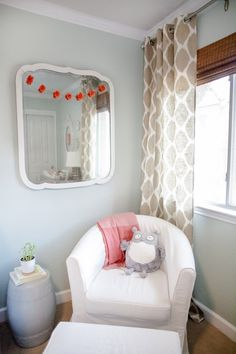 girl + neutral nursery inspiration // rocking chair, ikat curtains