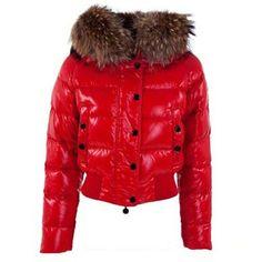 Moncler Alpin Jacken Damen Rot mit Pelzbesatz