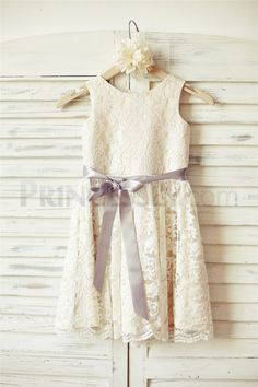 Ivory Lace Champagne lining Flower Girl Dress with sliver sash