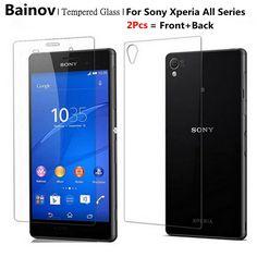 Bainov 2Pcs/Lot 9H 0.3mm 2.5D Front+Back Premium Tempered Glass For SONY Xperia Z3 Compact Z Z1 Z2 Z4 Z5  Screen Protector