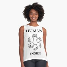'Human Inside' Sleeveless Top by RIVEofficial Cute Crochet, Funny Tees, Holiday Fashion, Cute Shirts, Chiffon Tops, Badass Style, Pin Pin, Fashion Outfits, Fitness Life