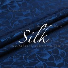 Items similar to Dark Blue Leaves fabric Silk Crepe Damask Ornament Fabric SALE on Etsy