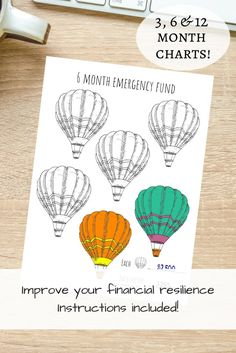 Monthly Emergency Fund 3 6 & 12 months instructions | Etsy Air Balloon, Balloons, Savings Chart, Goal Charts, India Art, Get Out Of Debt, How To Get, How To Plan, How To Stay Motivated