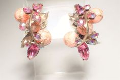 Vintage Pink Wire Over Pink Ball, Rhinestone, AB Ear Climber Earrings