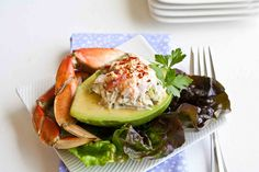 Refreshing crab salad stuffed onto avocado halves--rich and delicious! Sea Food Salad Recipes, Avocado Recipes, Seafood Recipes, Cooking Recipes, Healthy Recipes, Healthy Meals, Yummy Recipes, Shellfish Recipes, Healthy Sides