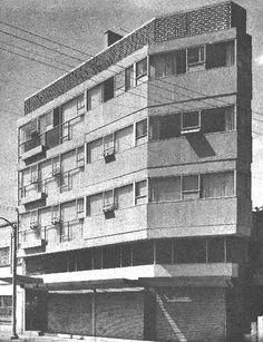 Edificio de departamentos, av. División del Norte 530, Del Valle, Benito Juárez, México DF 1955 Arq. Roberto Ibarrola - Apartment building, Division del Norte 530, Del Valle, Mexico City 1955