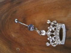 Belly Button Ring - Body Jewelry - Rhinestone Crown with Lt Purple Gem Stones Belly Button Ring