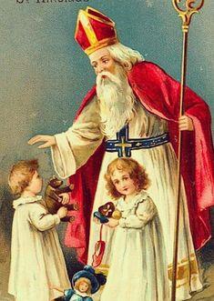 Saint Nicolas, Vintage Illustrations, Painting, Art, City Streets, Three Kids, Art Background, Painting Art, Kunst