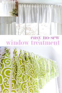 How to make an easy no-sew window valance for any window or glass door for your home in under an hour. It is an affordable option to expensive window treatments as you can use any fabric or even repurpose fabric from old clothing. Jeans work very well for