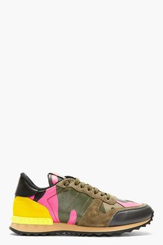 Valentino Green Camo Studded Running Shoes for men | SSENSE