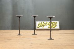 Industrial Speed Shop Counter Stools : Factory 20 USA, 1930s, Vintage Industrial Speed Shop Stools. Cast Iron Pedestal Bases with Hardwood Seats. The Seats Fully Swivel. Time Worn Patina. Solid and Stable. Great as Stools or Display Pedestals. 3 Available. factory20.com