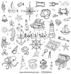 Drawing Doodles Ideas Hand drawn doodle Boat and Sea set Vector illustration boat icons sea life concept elements Ship symbols collection Marine life Nautical design Underwater life Sea animals Sea map Spyglass Magnifier - Doodle Drawings, Doodle Art, Doodle Ideas, Boat Icon, Sketch Style, Nautical Design, Nautical Prints, Bullet Journal Inspiration, Marine Life