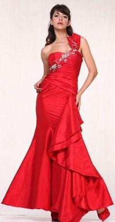Red Taffeta Embroidered One Shoulder Prom Dress Mermaid Ruffled Train