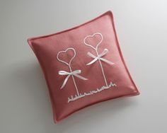 Ringkissen Very beautiful old rose-white ring pillow. The pillow Ringkissen Very beautiful old rose-white ring pillow. The pillow was made with an embroidery and two small loops Wedding Cross Stitch, Ring Pillows, Coffee Logo, Old Rose, Ring Pillow Wedding, One Ring, Wedding Beauty, Pin Collection, Wedding Details