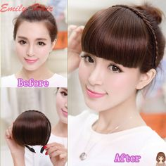 Free Shipping 2015 Fake Hair Bangs Girls Fashion Front Neat Bang Hair Extensions Fringe Hair Synthetic Clips On High Quality