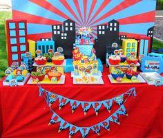 SUPERHERO Party- COMIC Hero Party- Superhero Birthday- Superhero STRAW FLAGS