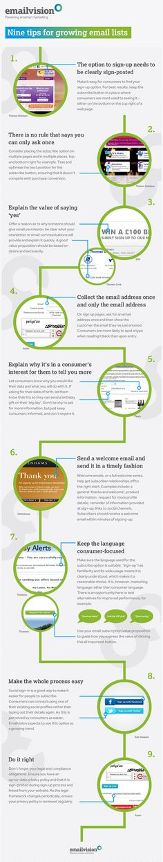 9 consejos para listas de email #infografia #infographic #internet #marketing
