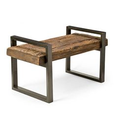 Rustic Wood and Iron Bench
