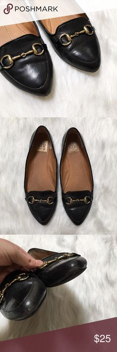"""DV Dolce Vita Black Loafers Classic black loafers that never go out of style. They feature a metal clasp to add an extra touch of prep. I can't seem to find a size on these, but my best guess would be an 8.5 as they fit me just a little tight (I am a 9). Length of the bottom of the sole measures approximately 10.25"""". They do show some wear on the outside and inside, but I bet some TLC with leather cleaner will bring them back to their glory. DV by Dolce Vita Shoes Flats & Loafers"""