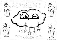 En esta ficha además de repasar los puntitos pegaremos en la nube del niño JESÚS algodón, bolitas de papel....