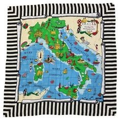 Moschino 1990s Italia Map of Italy Souvenir Style Silk Scarf | From a collection of rare vintage scarves at https://www.1stdibs.com/fashion/accessories/scarves/