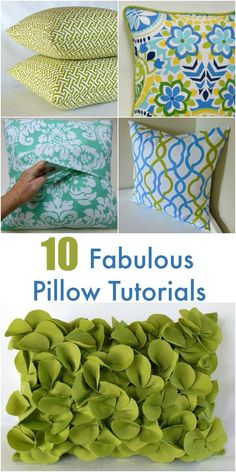 DIY pillows are a fun sewing project that can quickly update a room.  Learn how to make 10 fabulous pillows with these step-by-step sewing tutorials, many of them with video instructions.  #newtoncustominteriors #sewingtutorial #videotutorial #pillow #diy