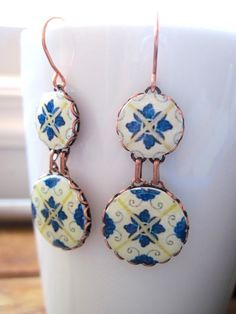 Portuguese jewelry Spanish jewelry dangle earrings by CorinaCrooks