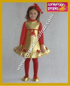 Disfraz de Campana Dorada para niña. #Disfraces #Navidad www.casadeldisfraz.com