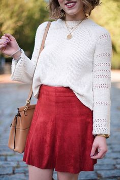 Suede Skirt + Bell Sleeve Sweater - Something Delightful Blog