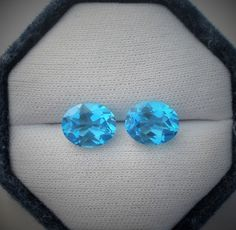 Swiss Blue Topaz oval gem pair 11 x 9mm each #pinnaclediamonds