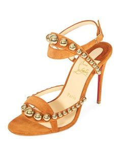 Christian Louboutin Galleria 100mm Suede Red Sole Sandal