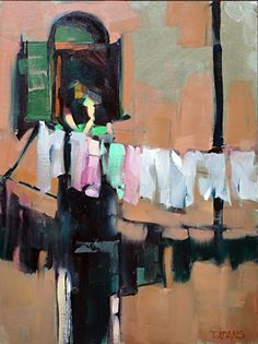 Venetian Laundry by Trisha Adams Oil ~ 16 x 12