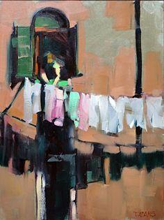 Venetian Laundry by Trisha Adams Oil ~ 16 x 12