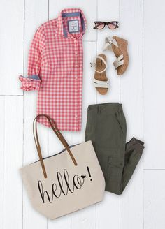 Hello, spring! Who can think about winter with a fresh look from SONOMA Goods for Life? Start with a punchy pink and white gingham button-down shirt and add in super-soft olive joggers. An easy wedge sandal and a fun tote bag keeps the look casual. Put a