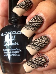 Black Lace on Nude Nails  #lace #nailart #nudenails