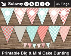 INSTANT DOWNLOAD Printable Mint and Coral Banners by subwayParty