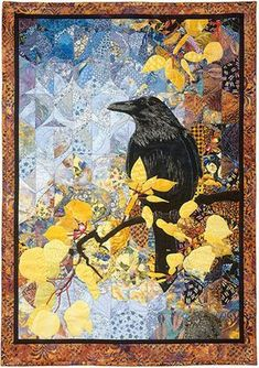 how to do crazy patchwork Vogel Quilt, Watercolor Quilt, Watercolor Background, Landscape Art Quilts, Bird Quilt, Crazy Patchwork, Animal Quilts, Applique Quilts, Bird Art