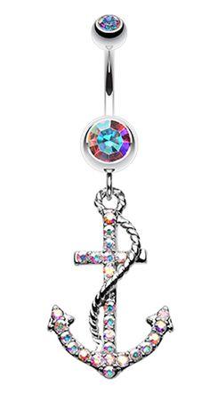 Glistening Glass-Gem Anchor Dock Belly Button Ring