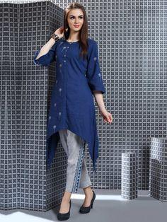 37352f2e3 Blue Color Lovely Punjabi Salwar Suit In Cotton