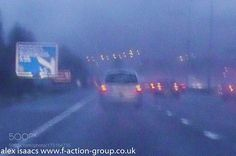 difficult driving conditions by almi3 with driving fog fading light blue grey cars lines signs rectangles