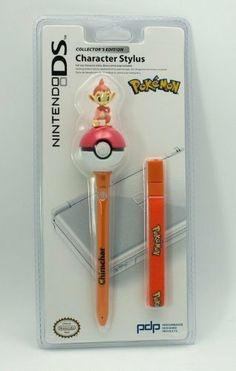 Pokemon Collector's Edition Charater Stylus Pen For Nintendo DS - Chimchar Figure Top by Nintendo. $24.99. Full size character stylus, bonus wrist strap included. Warning: Choking Hazard, small parts, not for children less than 3 years. Recommended for ages 8 and up, use with adult supervision. Comfortably play your Nintendo DS games with this full size Character Stylus featuring one of Pokemon's beloved game characters. Larger than a standard stylus, it's easy to use and com...